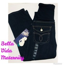 Bella Womens Maternity Dark Wash Blue Jeans Capris 4 Pockets Size S NWT - $21.37