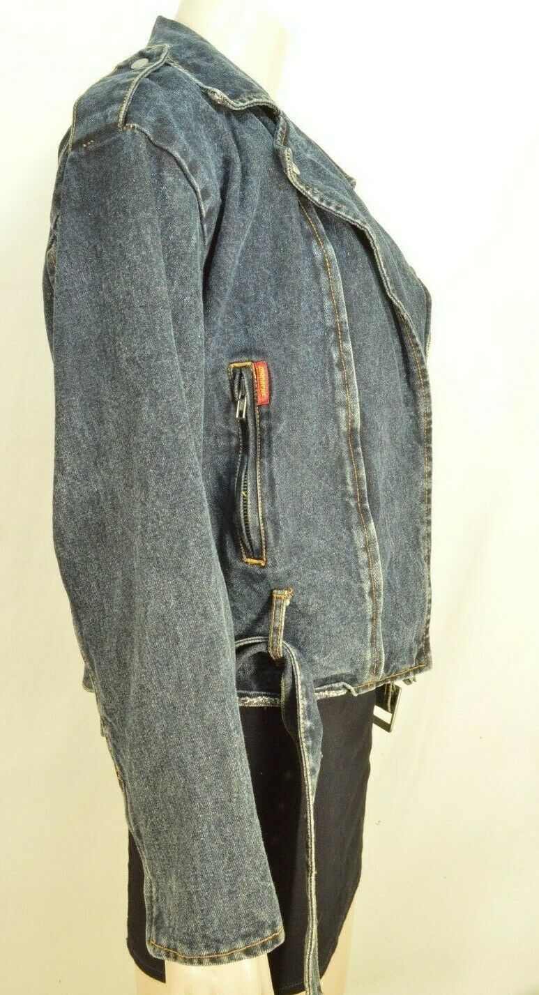 Jordache jeans jacket SZ M denim moto style vintage zippers pockets belt dark image 3