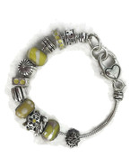 Yellow Silver Toned Slide Charm Bracelet For Women Unsigned Costume Jewe... - $16.26
