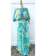 Emilio Pucci Iconic Maxi Dress Signature Cotton/Silk Summer Beach M 1970... - $939.00