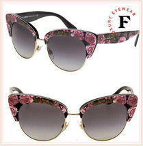 DOLCE & GABBANA PRINT FAMILY Roses 4277 Black Pink Cat Eye Sunglasses DG... - $207.90