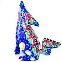 Handmade Oaxacan Copal Wood Carving Painted Folk Art Howling Wolf Coyote Figure image 4