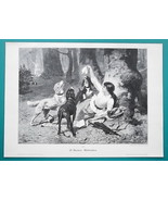 YOUNG LADY in Forest Playing with Hunting Dogs - VICTORIAN Era Print - $16.20