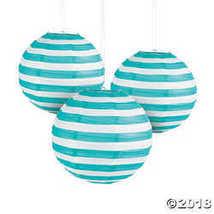 Turquoise Striped Hanging Paper Lanterns - $12.49