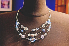 Napier 3 Strand Wire Necklace Blue Clear & Silver Beads Vintage Necklace image 5