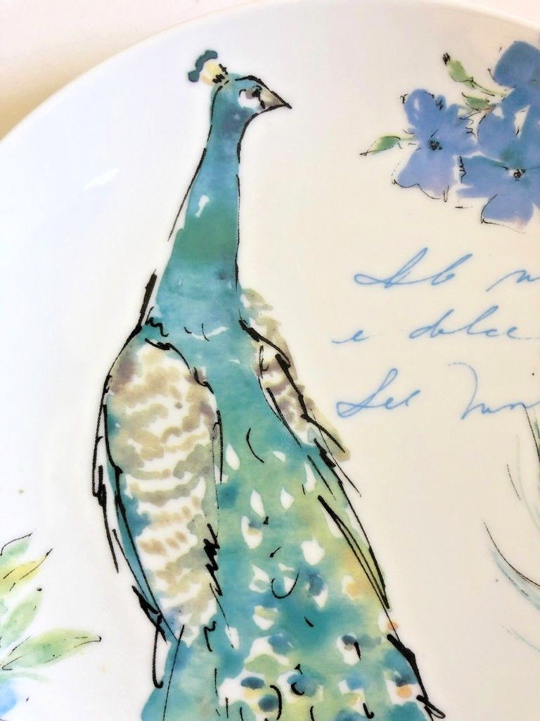 Peacock Ceramic Plates Salad Dessert Lunch Bread Set of 4 Prima Design 8.5""