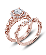 14k Rose Gold Finish 925 Sterling Solid Silver Womens Bridal Diamond Rin... - $92.99