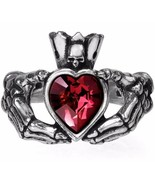 Alchemy Gothic Claddagh By Night Skeleton Hands Red Crystal Heart Ring R210 - $29.95