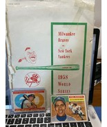 1958 WORLD SERIES TICKET COVER/SCORED GAME SHEETS/RIZZTO/MATHEWS CARDS - $49.50