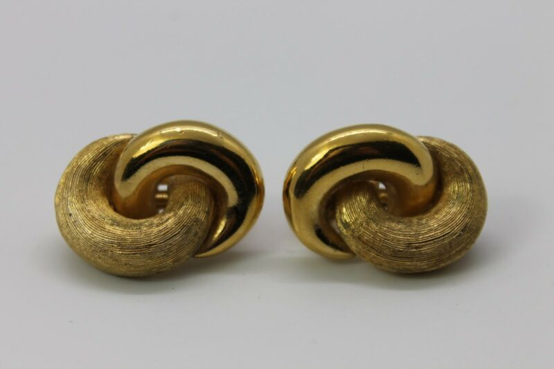 Primary image for Vintage Christian Dior Earrings Chr Designer Clip On Modernist Infinity Loops