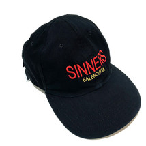 AUTHENTIC BALENCIAGA SINNERS Logo Stitch Baseball Cap Hat Black 487067 - $270.00