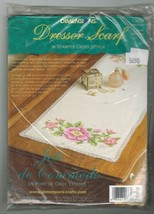 "Dimensions Stamped Cross Stitch Wild Roses Dresser Scarf Kit 14"" x 37"" - $13.99"
