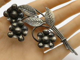 MEXICO 925 Sterling Silver - Vintage Floral Bouquet Detail Brooch Pin - ... - $112.25