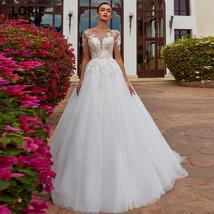 Elegant Lace Nude Illusion Soft Tulle Princess Wedding Dress