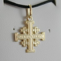SOLID 18K YELLOW GOLD FLAT JERUSALEM CROSS, SMOOTH AND SATIN, MADE IN ITALY - $195.00