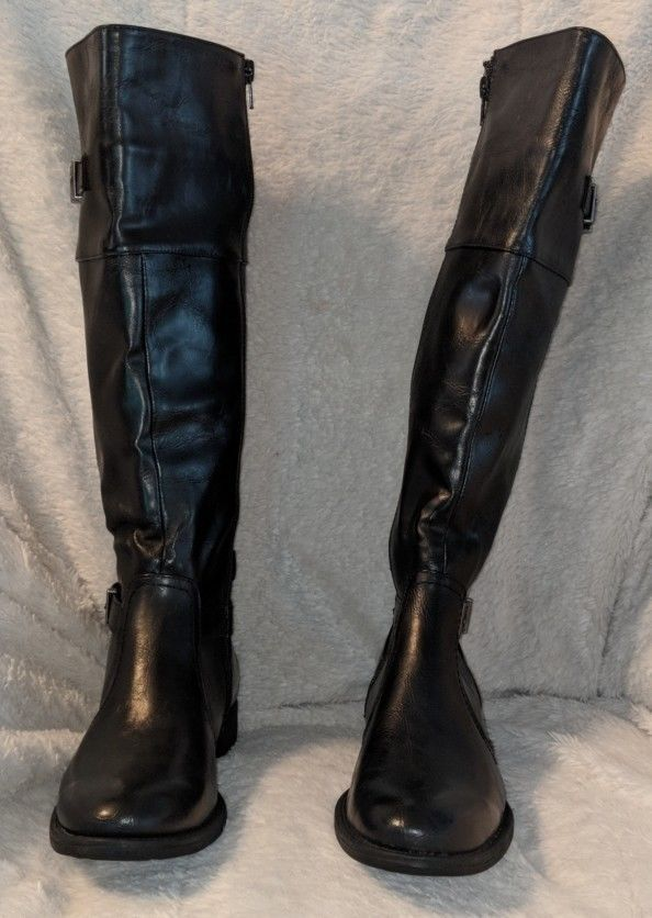 YUU Rocio Black Knee Hight Boots Size 6 1/2 M With Gore For Extra Give