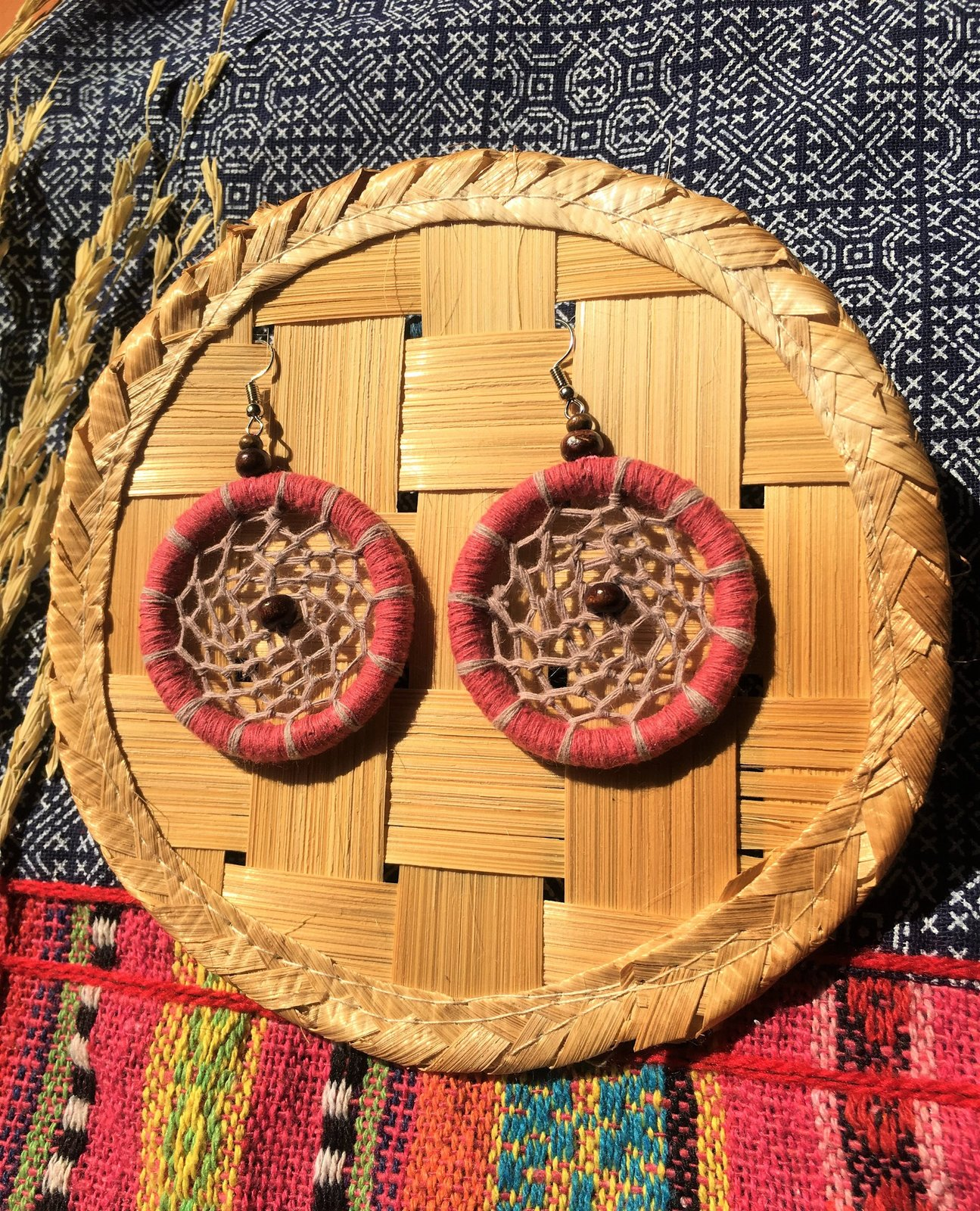 Pink circle dangle Earrings, Handmade earrings from cotton threads & wood beads