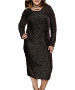Plus size long sleeve shimmer evening dress - $29.99