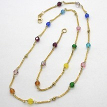 18K YELLOW GOLD NECKLACE EAR ALTERNATE WITH FACETED BLUE PINK PURPLE GREEN BALLS image 1