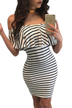 Black White Striped Off-shoulder Bodycon Dress  - $15.03