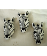 3 ZEBRA Widlife Button Covers - 15mm Metal Finding  - $8.00