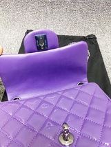 AUTHENTIC CHANEL 2017 PURPLE QUILTED PATENT LEATHER SQUARE MINI CLASSIC FLAP BAG image 8
