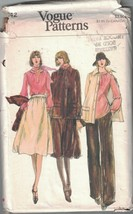 9342 Uncut Vogue Nähen Muster Misses Jacke Rock Hose Bluse Schal 1970s Oop - $4.89