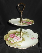 Lefton China Heritage Green Pink Roses On Green 2 Tier Tidbit Snack Tray Server - $57.00