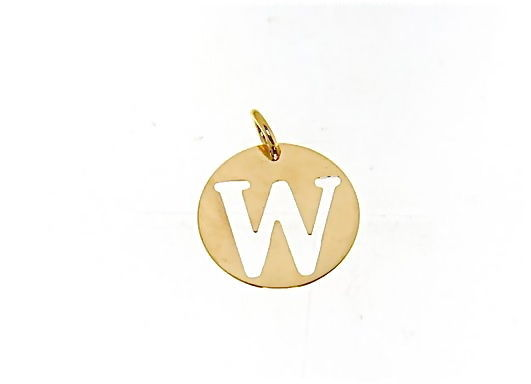 18K YELLOW GOLD LUSTER ROUND MEDAL WITH LETTER W MADE IN ITALY DIAMETER 0.5 IN