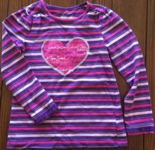 Calvin Klein Girls Pink Purple Silver Stripe Long Sleeve w Heart Design ... - $10.89