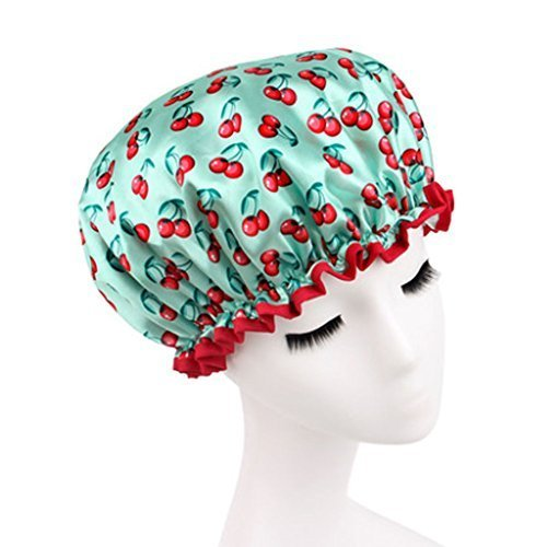 Stylish Design Waterproof Double Layer Shower Cap Spa Bathing Caps, Green Cherry