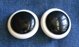 "Fabulous Mod Black & White Lucite Clip Earrings 1960s vintage 1 1/4"" - $10.40"