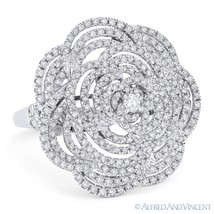 1.47 ct Round Cut Diamond Pave Right-Hand Flower Cocktail Ring in 18k Wh... - $3,419.99