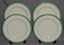 Set (4) Mikasa Fine Ivory Majestic Jade Pattern Dinner Plates Made In Japan - $39.59