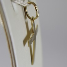 SOLID 18K YELLOW GOLD FLAT CROSS SQUARED ARCHED, SMOOTH, LUMINOUS, MADE IN ITALY image 2