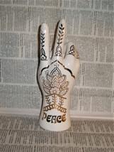 Peace Hand Ring Holder Henna Pattern Gold White Ceramic Lucky Brand V Fi... - $42.75