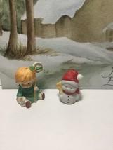 Vintage Lefton Shepard Boy Christmas Or Nativity Figurine + Bonus Snowman - $12.95