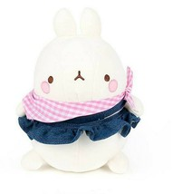 Molang Blue Jean Skirt Costume Stuffed Animal Rabbit Plush Toy 9.8 inches