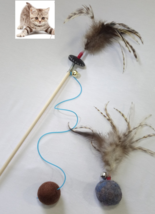 Cat toys teaser wand & wool ball with feathers, Interactive toys set  - $29.99