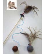 Cat toys teaser wand & wool ball with feathers, Interactive toys set  - $25.99