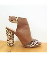7 - Anthropologie Brown Leather Fuzzy Animal Print Shootie Heels 1016KM - $75.00