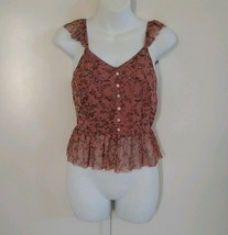 American Rag Cie Women's Ruffle Hem Buttons Detail Floral Pink Mauve Top... - $18.69