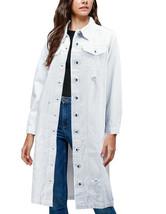 Women's Long Length Distressed Denim Cotton Oversize White Jean Coat - Medium image 2