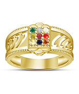 Attractive 14K Yellow Gold FN Nine-Color Round Gemstone Men's Navratna Ring - $54.45