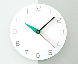 Moro Design 3 Color Hands Wall Clock non Ticking Silent Clock (Classic Mint) image 2