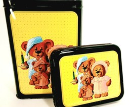 Nighttime Teddy Bear Family Collectible Tin Vintage 1987 Parco Foods Can... - $11.99