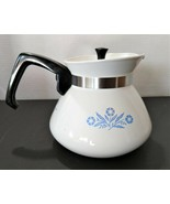 Vintage Corning Ware Cornflower Blue and White Teapot Coffee Carafe 6 Cu... - $13.99