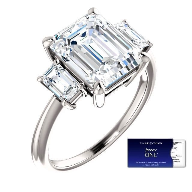 4.25 Carat EmeraldCut Moissanite ForeverOne Diamond Ring 14KGold Charles&Colvard