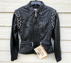 New Harley Davidson Womens Motor Cycle Genuine Leather Chain Jacket - X-... - $346.50