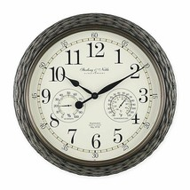 Sterling & Noble Indoor/Outdoor Dial Wall Clock with Thermometer Grey  1... - $29.69